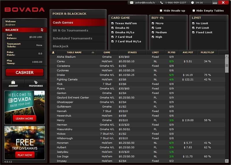 Bovada Poker Lobby
