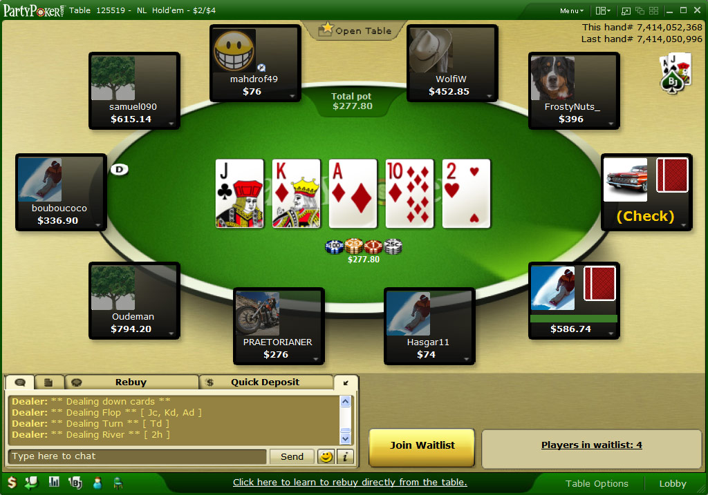 party poker games